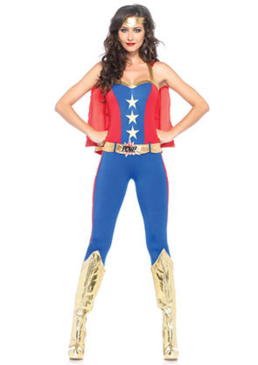 3PC.Comic Book Hero,halter catsuit w/cape,belt,headband in BLUE/RED