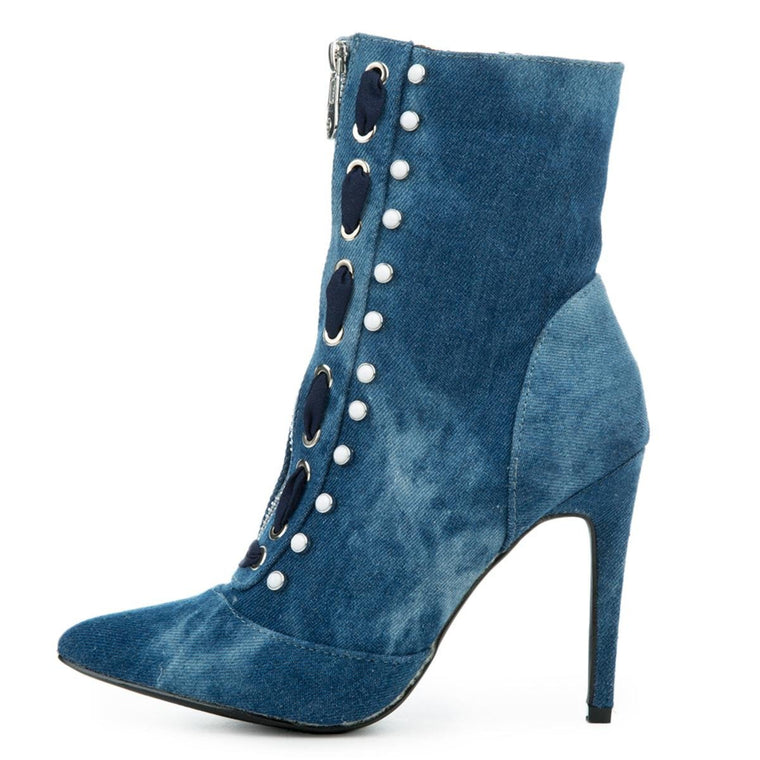 Cape Robbin Gigi-17 Women's Denim High Heel Boot