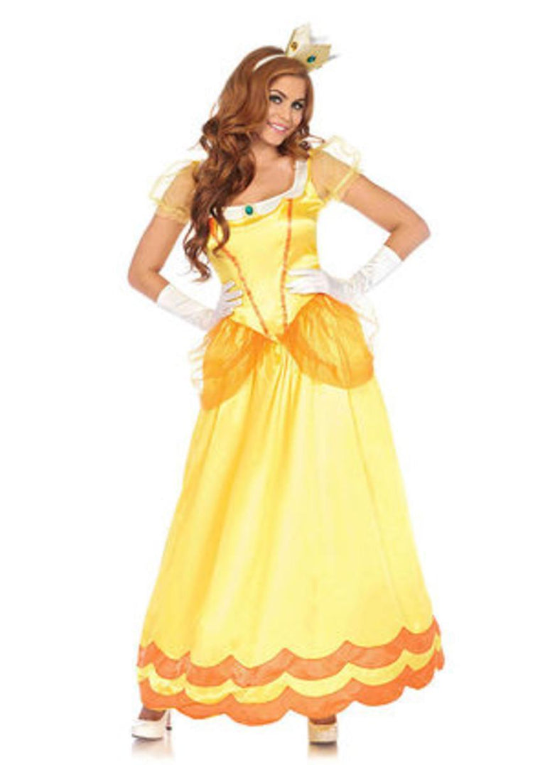 2PC.Sunflower Princess,long satin gown and jewel crown SMALL YELLOW/ORANGE