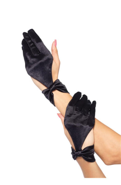 Satin cut out glove with bow wrist detail in BLACK