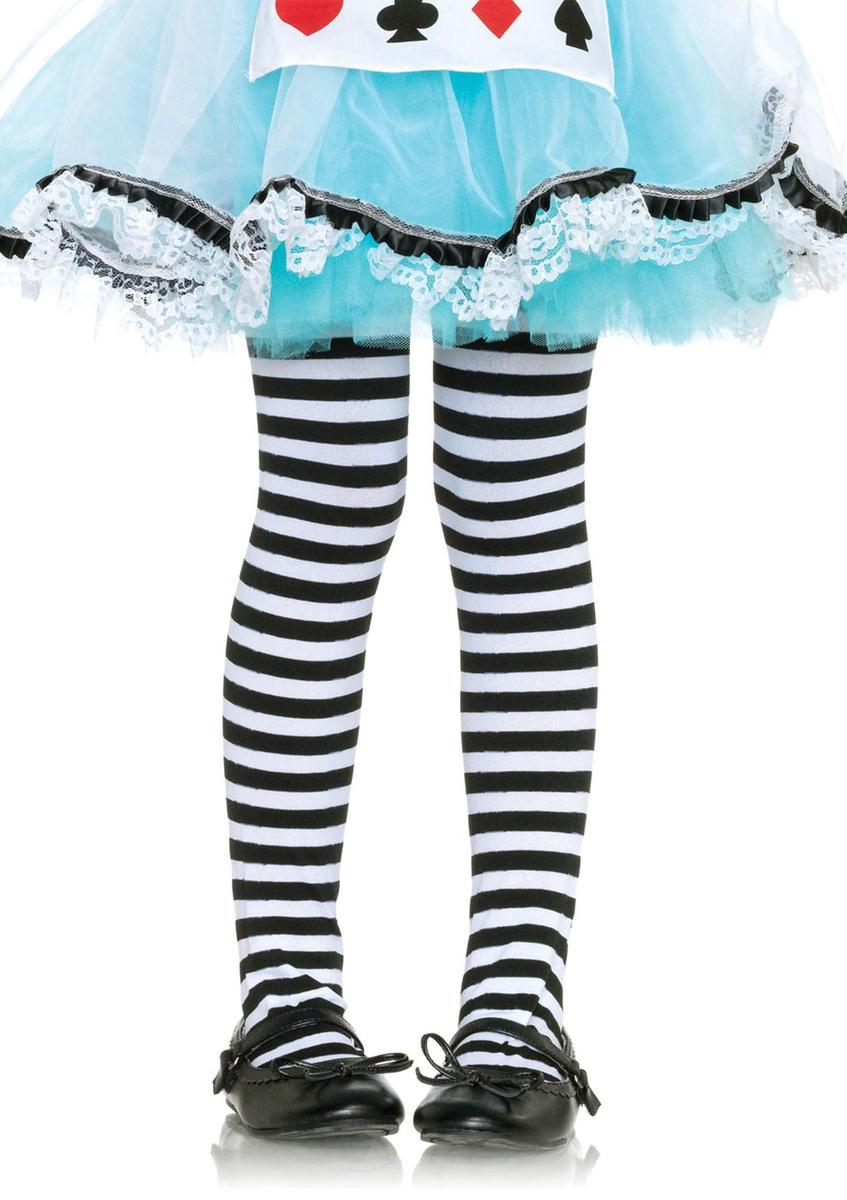 Girl Stripe Tights in BLACK/WHITE