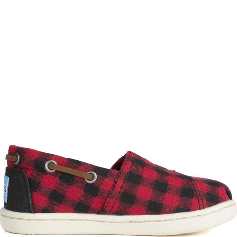 Tiny Toms: Bimini Black/Red Plaid Flats