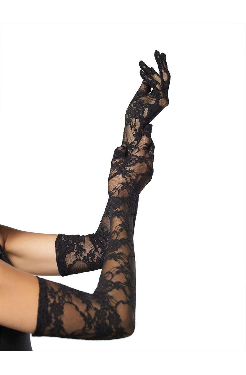 (6Pc.Pack) Stretch Lace Elbow Length Gloves in BLACK