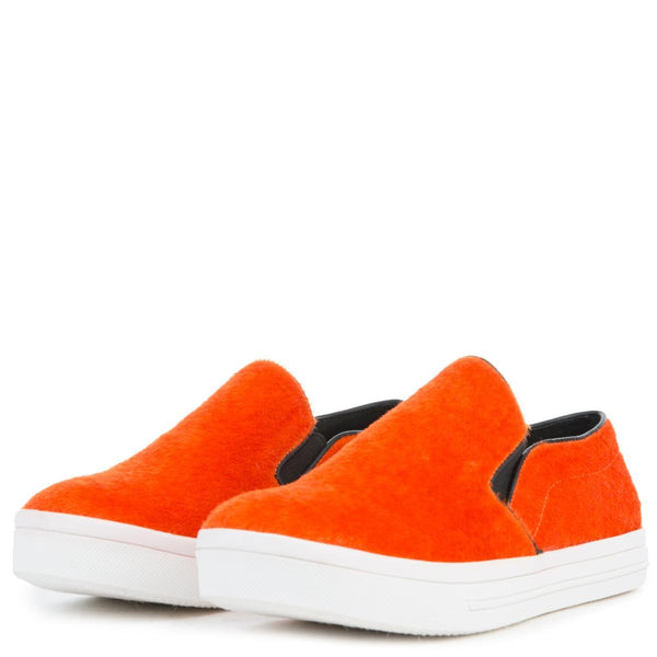 Women's Pony Hair Orange Slip On