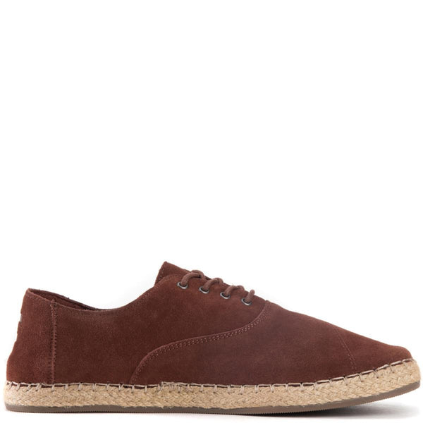 Toms for Men: Camino Chestnut Brown Suede Oxfords
