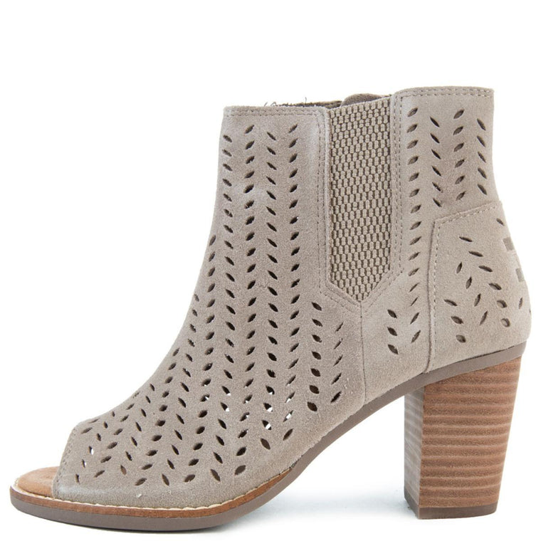 Majorca Peep Toe in Desert Taupe Suede/Perforated Leaf