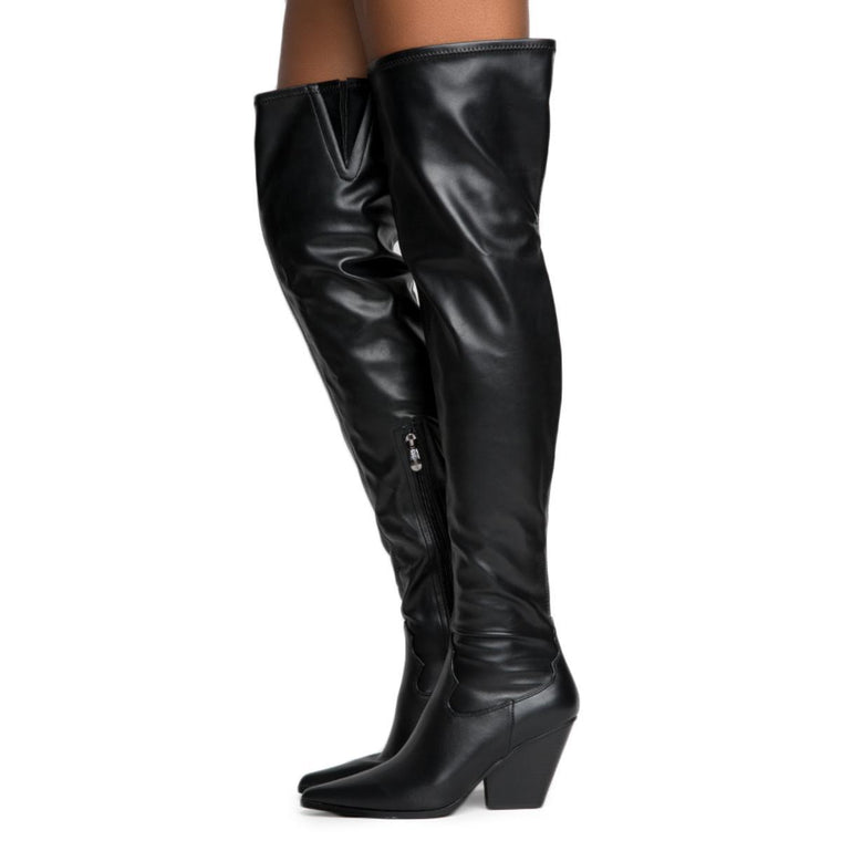 Cape Robbin Kelsey-9 Women's Black Thigh High Boots