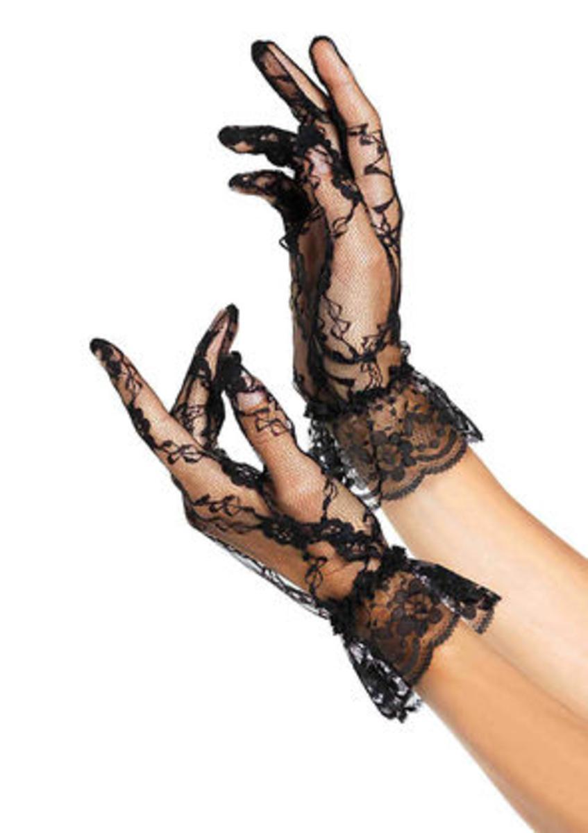 Lace Wrist Lengh Ruffle Gloves (Dz. Pack) in BLACK