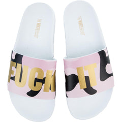 Women's Fuck It Sandals in White and Pink