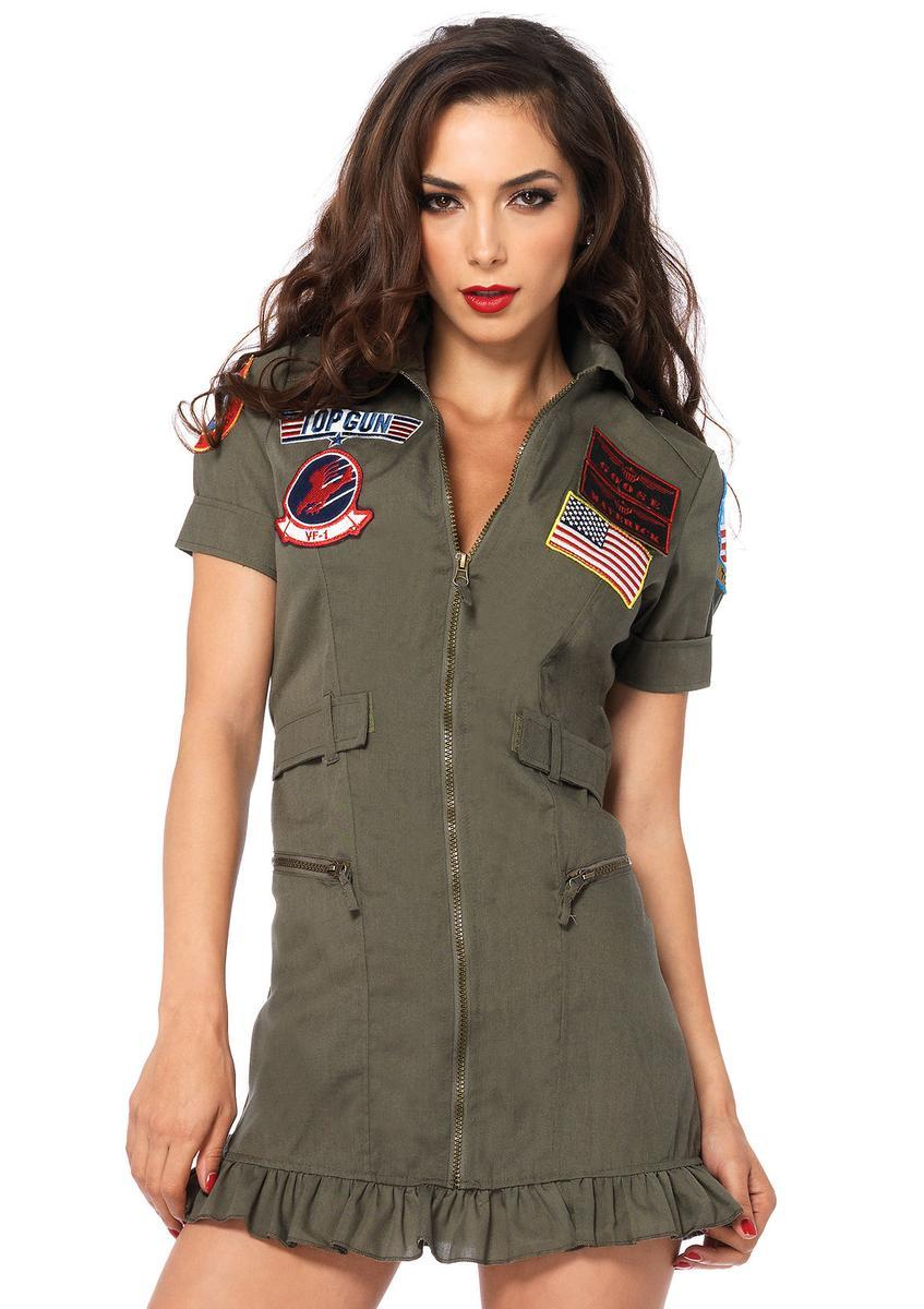 Top Gun Flight Dress,zipper front dress in KHAKI