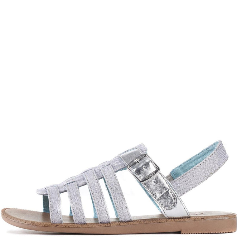 Toms for Kids: Huarache Silver Metallic Linen Sandals