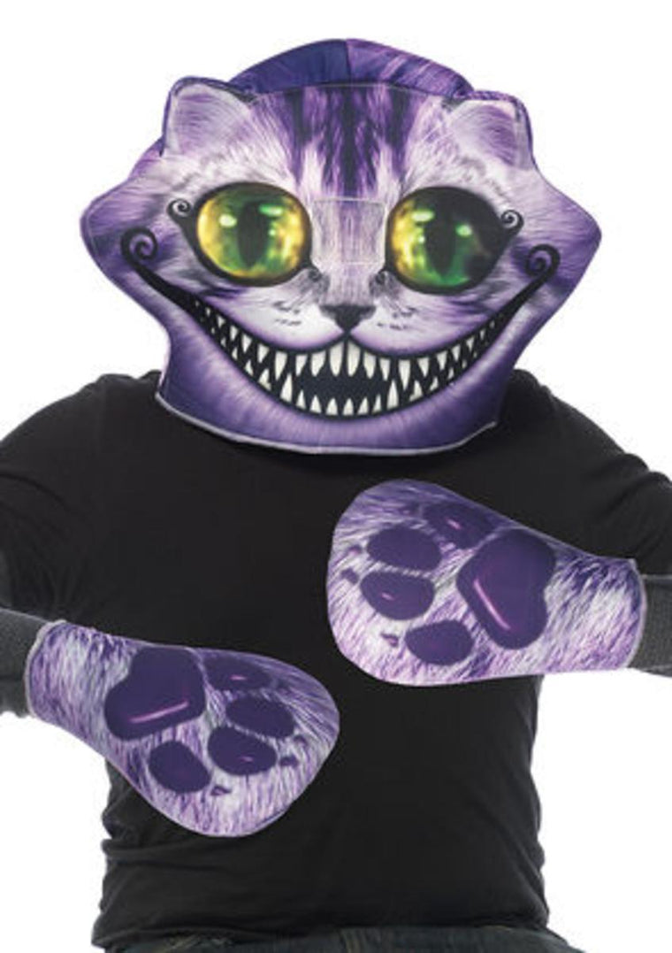 2PC.Cheshire foam mask,matching paw gloves in PURPLE