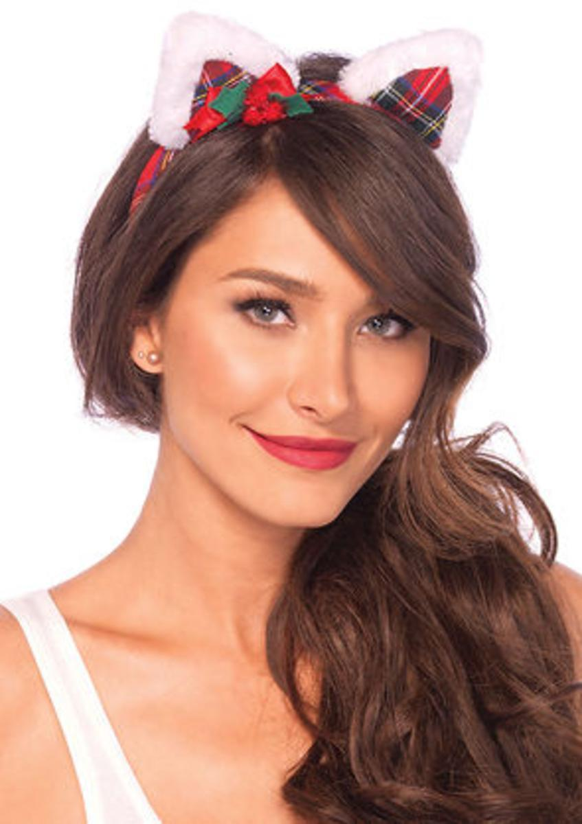 Christmas kitty ear headband with mini holly berry bow in MULTICOLOR