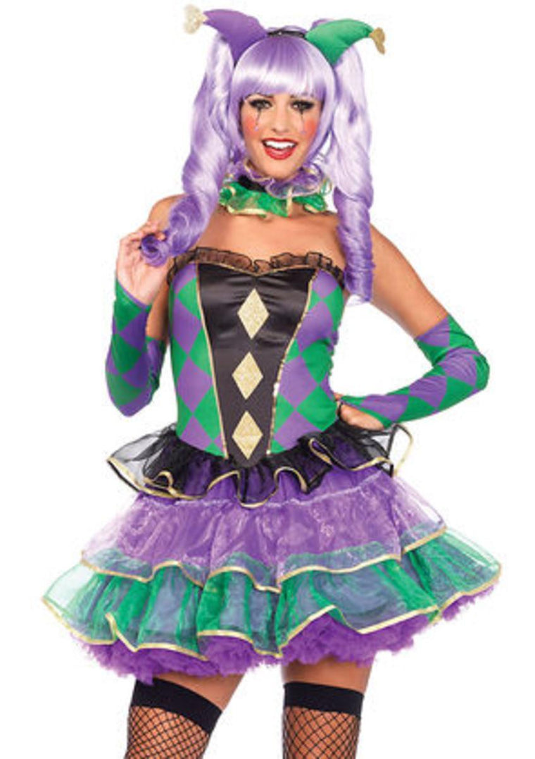 5PC.Mardi Gras Sweetie,dress,straps,choker,gauntlet,headband in MULTICOLOR