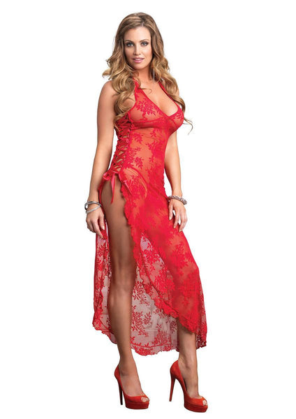 2Pc. Halter Lace Long Gown W/ Ribbon Lace Up Side Slip And G in RED