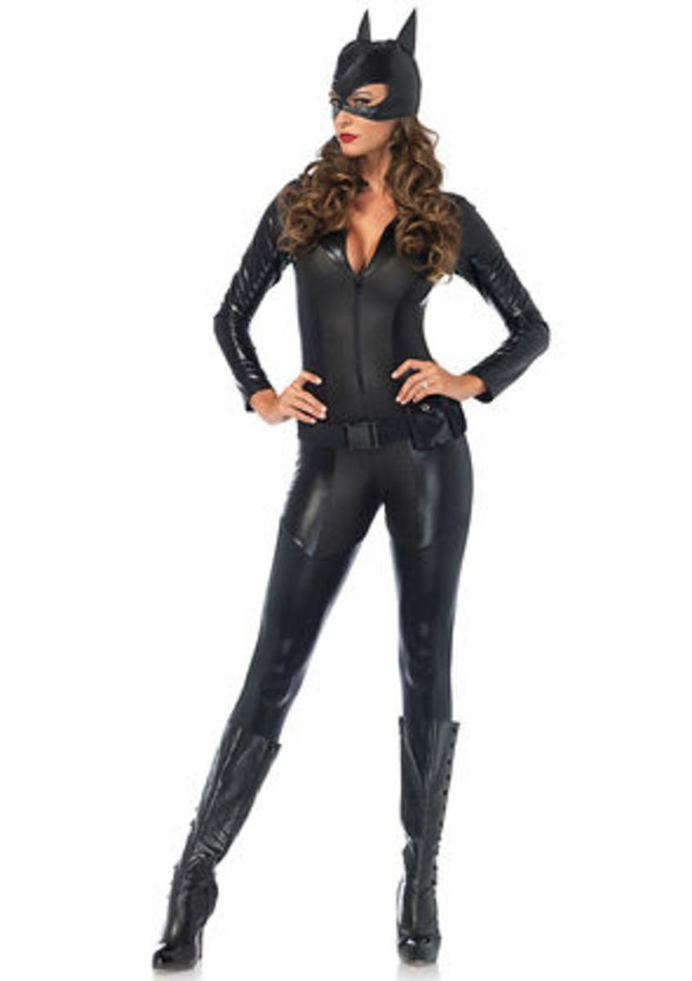 3PC.Captivating Crime Fighter,quilted catsuit,utility belt,mask in BLACK