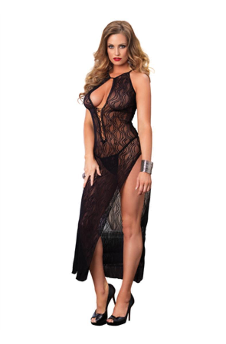 Swirl Lace Long Dress W/Lace Up Front W/G-String in BLACK