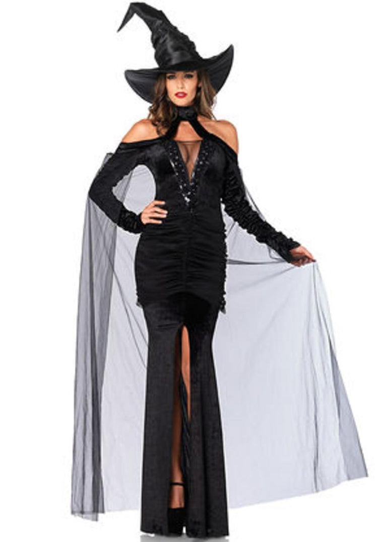 2PC.Sultry Sorceress,velvet dress w/attached cape,witch hat in BLACK