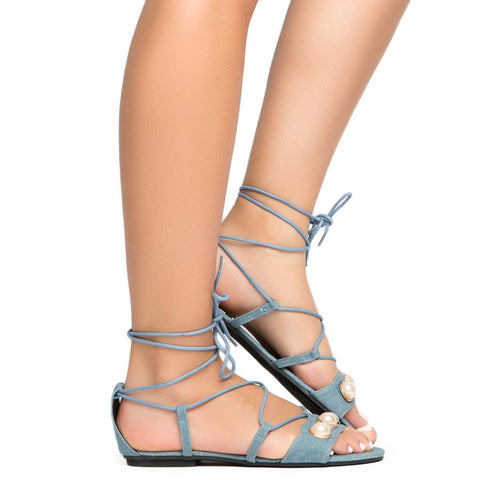 Cape Robbin Leela-5 Denim Women's Sandal