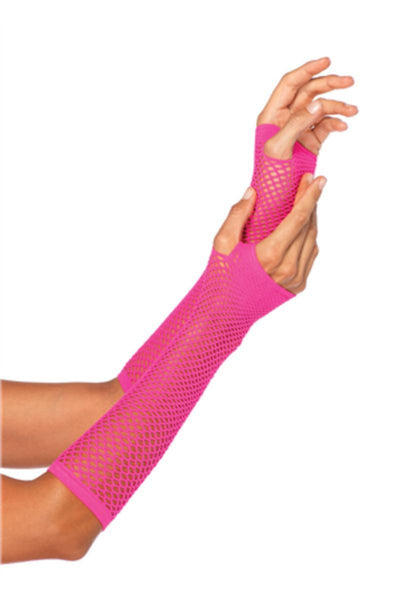 TRIANGLE NET FINGERLESS GLOVES in NEON PINK