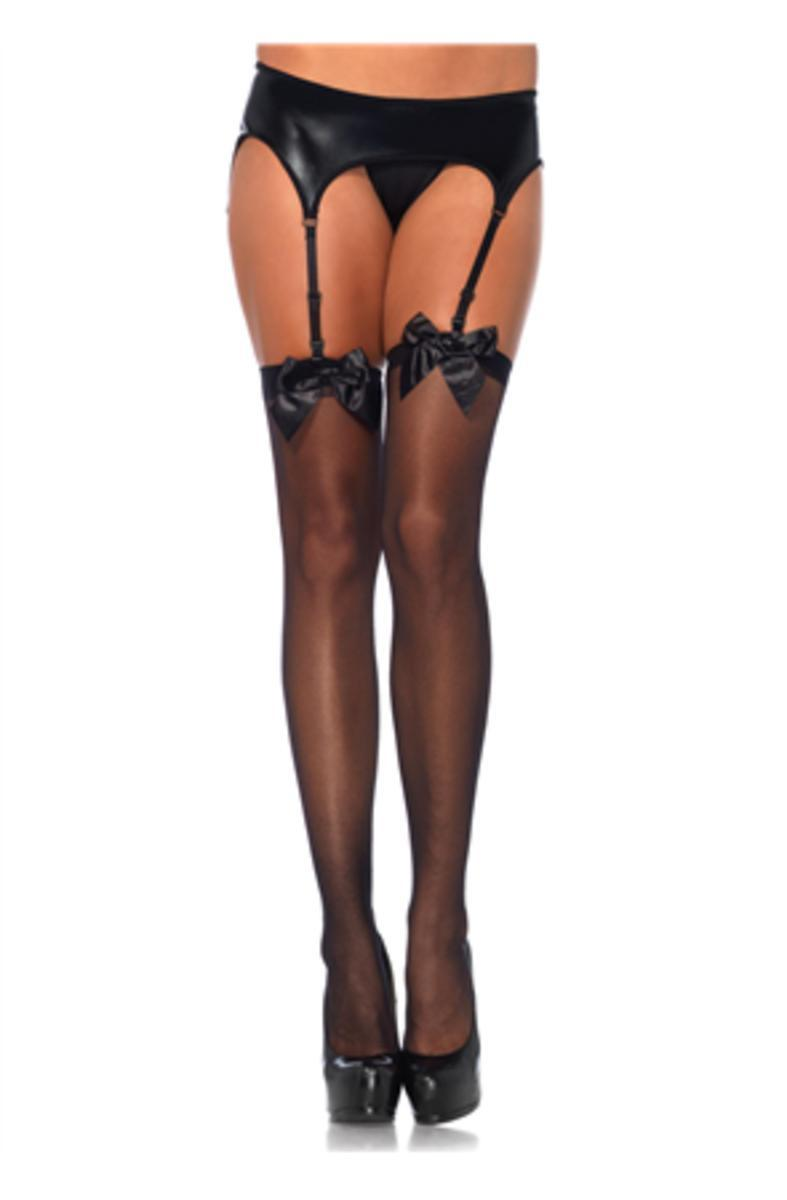 Sheer Thigh Hi W/ Satin Bow in BLACK