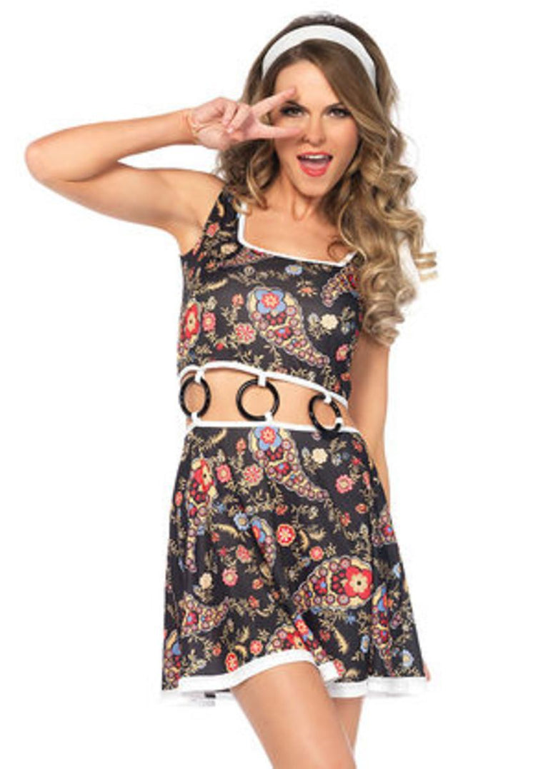 2PC.Groovy GoGo Girl,paisley dress w/O-ring,head scarf in MULTICOLOR