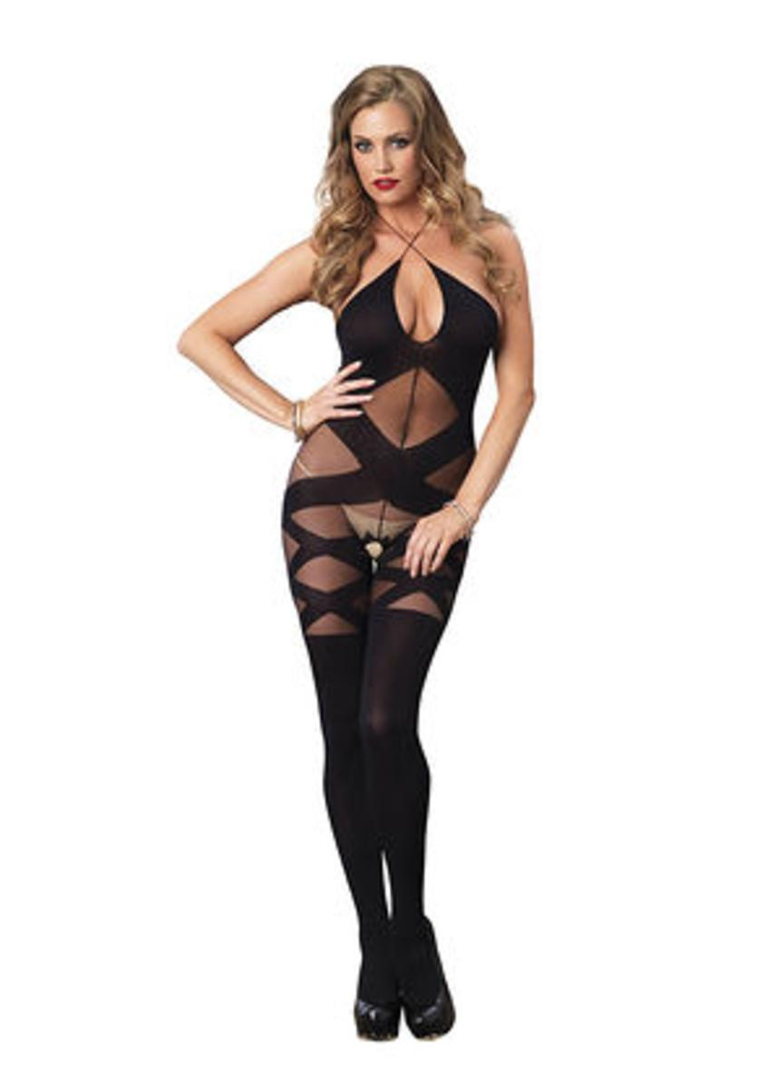 Opaque and sheer illusion bodystocking with keyhole halter detail in BLACK