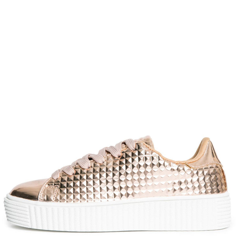 Cape Robbin Izzy-1 Women's Rose Gold Platform Sneakers