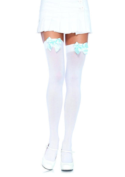 Nylon Over The Knee W/Bow O/S WHITE/L.BLUE