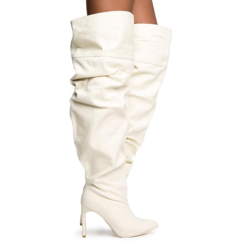 Cape Robbin Kitana-2 Women's Canvas Thigh High Boots
