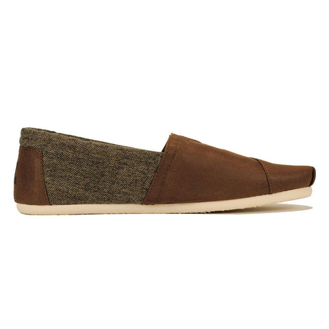 Toms for Men: Classic Dark Earth Coated Canvas With Shearling Flats