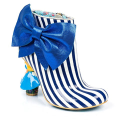 Irregular Choice Alice in Wonderland Collection: Who in the World Am I? Blue/White Heel Boots