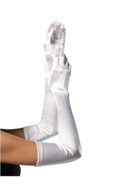 EXTRA LONG SATIN GLOVES in WHITE
