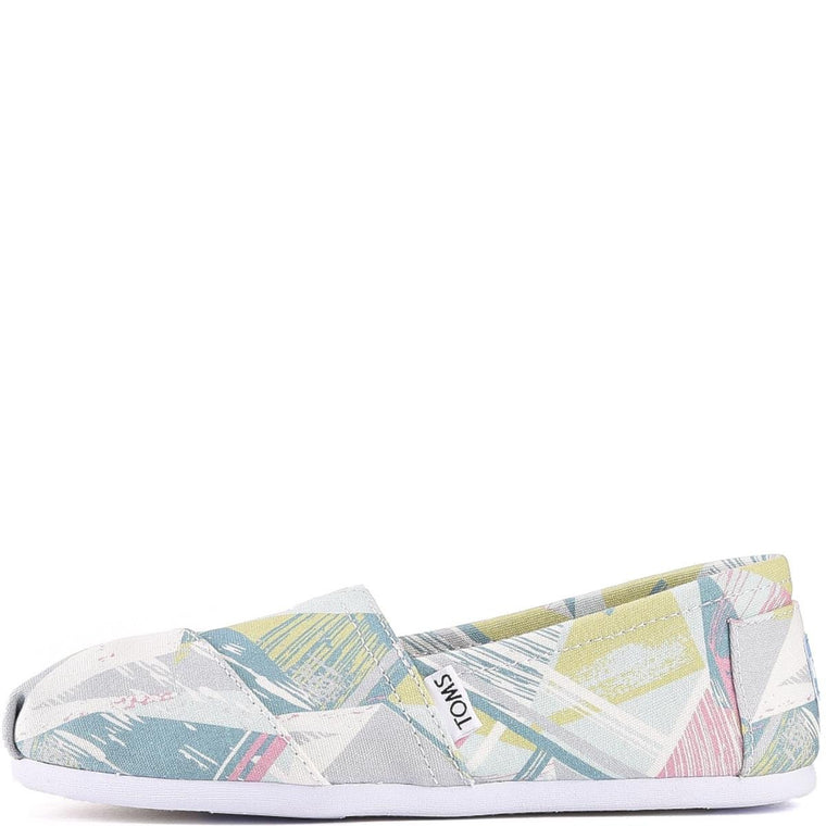 Toms for Women: Classic Pastel Multi Canvas Triangles Flats