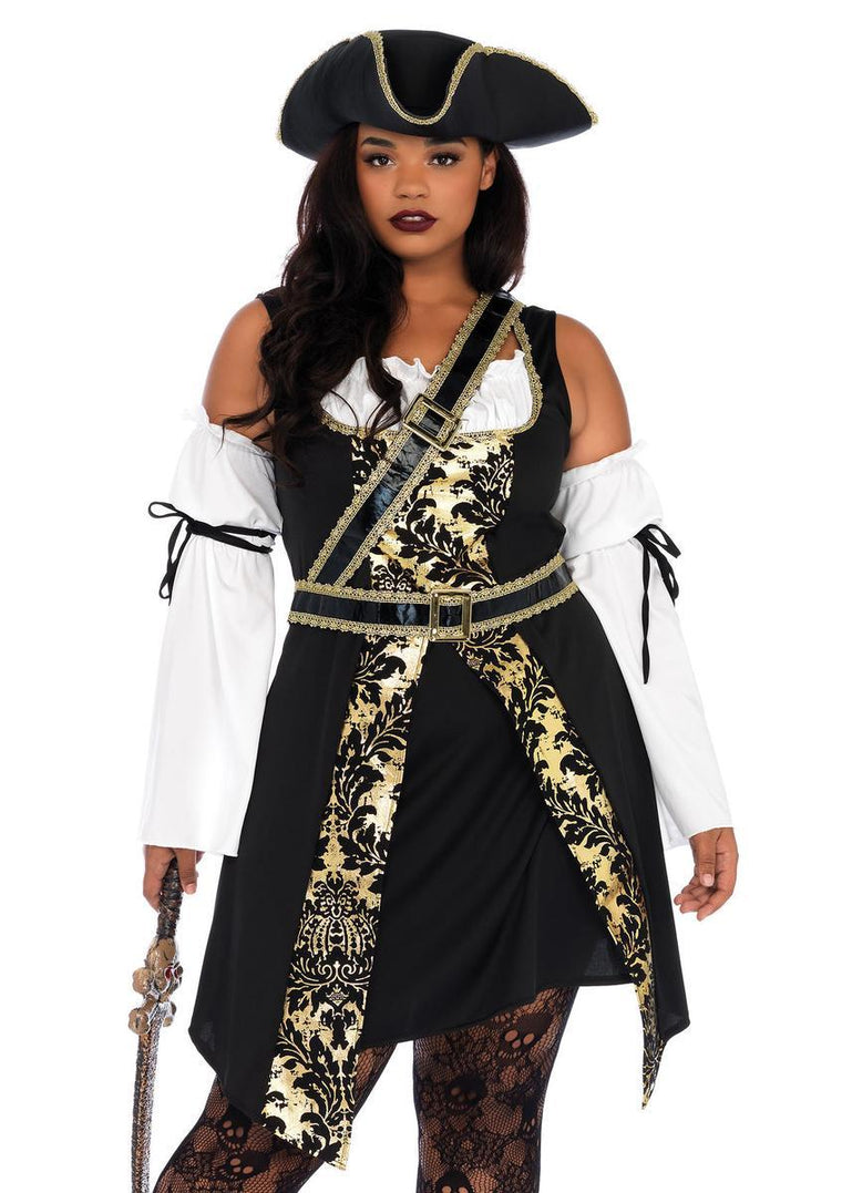4PC.Black Sea Buccaneer,dress,sleeves w/wrap,belt,hat in BLACK/GOLD