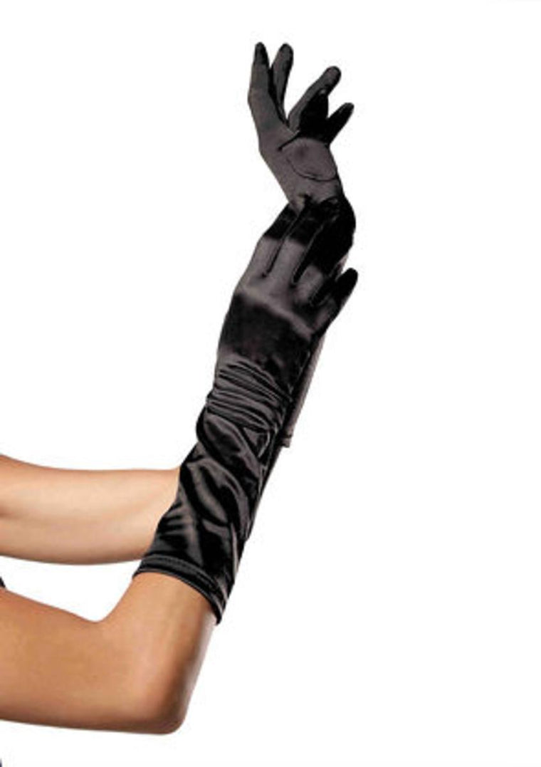 Elbow Length Satin Glove in BLACK