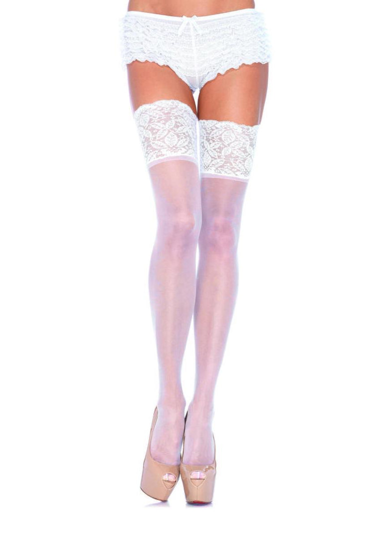 5 in Lace Lycra Sheer Stay Up Thigh Hi PLUS SIZE WHITE