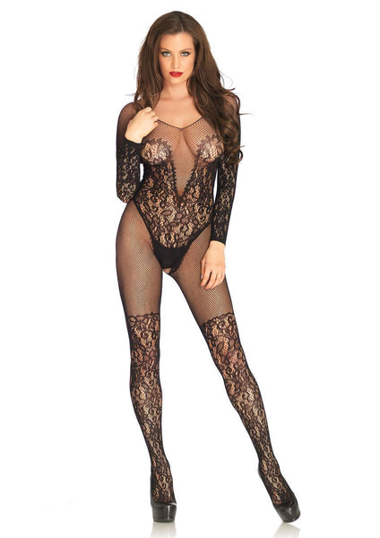 Vine lace and net long sleeved bodystocking