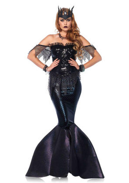 2PC.Dark Water Siren,sequin bustier dress w/shimmer foam fin,jewel crown in BLACK
