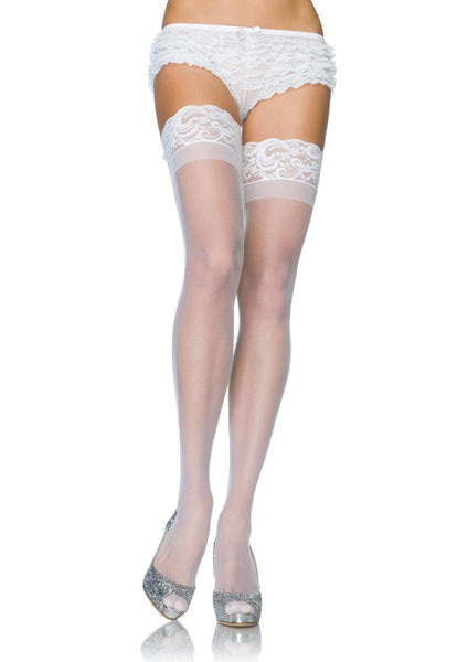 The Stay Up 3 in Lace Top Lycra Sheer Thigh High in White
