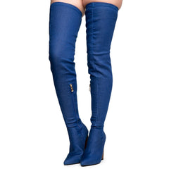 Cape Robbin Connie-10 Women's Denim Heeled Thigh High Boots