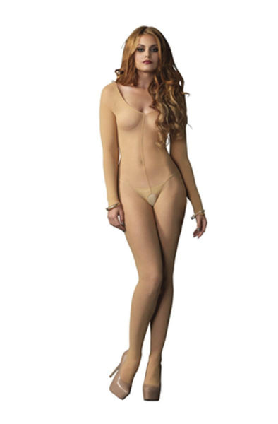 Sheer Long Sleeves Bodystocking in NUDE
