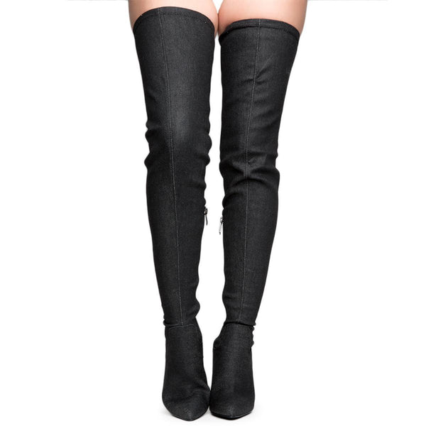 Cape Robbin Connie-10 Women's Black Heeled Thigh High Boots