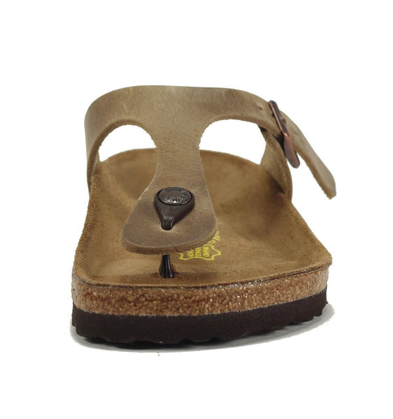 Birkenstock for Women: Gizeh Waxy Leather Tabacco Brown Sandal