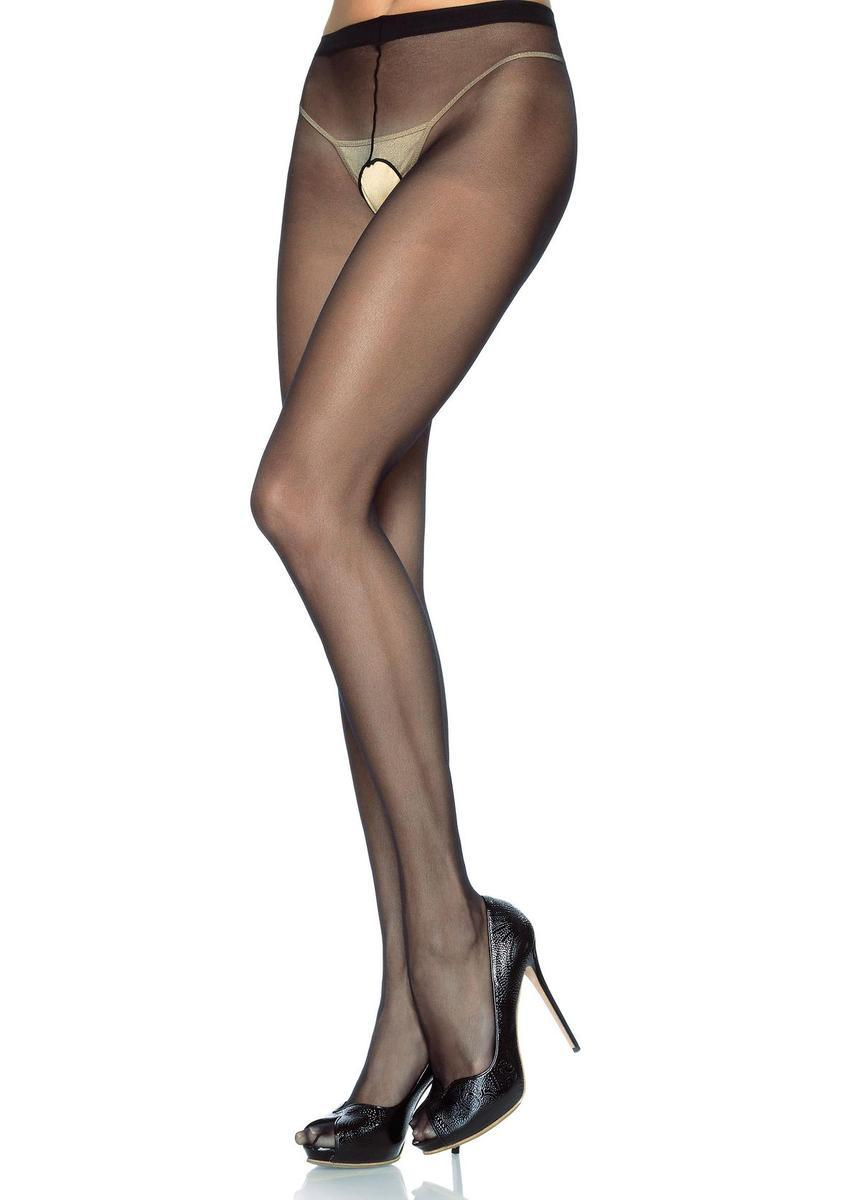 Sheer Nylon Crotchless Pantyhose in BLACK/BLACK