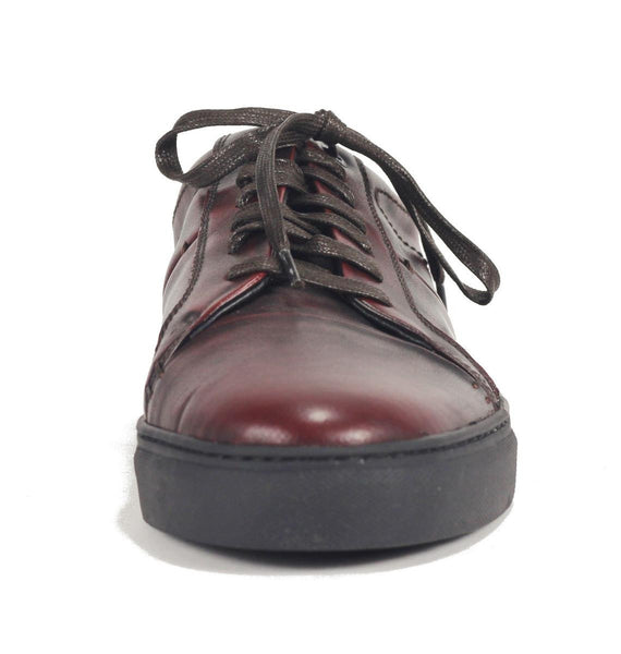JD Fisk for Men: Cadet Burgundy Brush Off Leather Sneaker