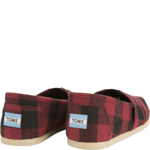 Toms for Men: Classics Seasonal Red and Black Plaid Flats