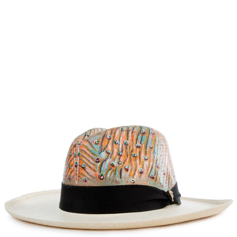 Animal Print Real Panama Hat Size M