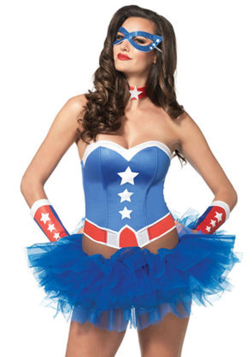 4PC.American Hero Kit,bustier,arm cuffs,choker,eye mask in MULTICOLOR