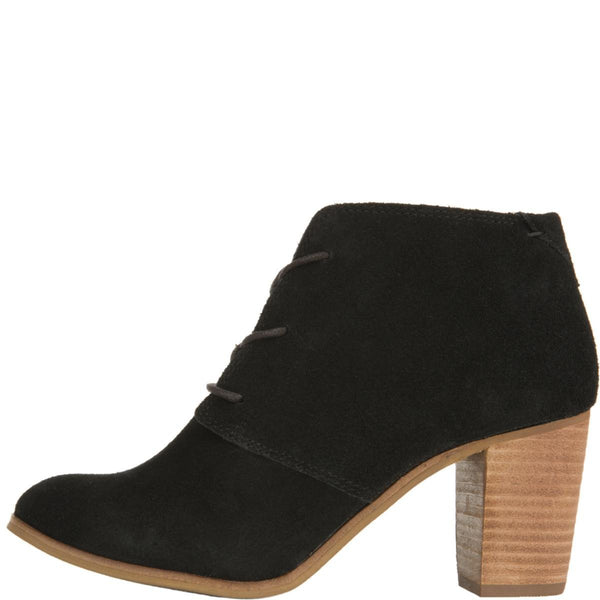 Toms for Women: Lunata Black Suede Lace-Up Heeled Booties